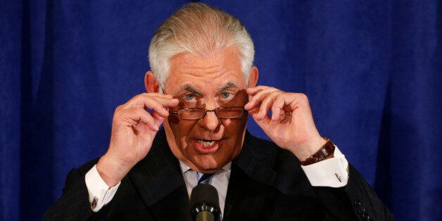 Secretary of State Rex Tillerson holds a press briefing during the U.N. General Assembly in New York,...