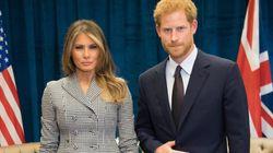 멜라니아와 만난 해리 왕자의 '악마의 뿔' 제스처