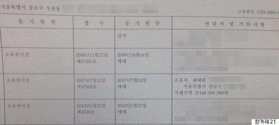 국정원 '화이트리스트' 단체, 최태원 오피스텔 사무실로