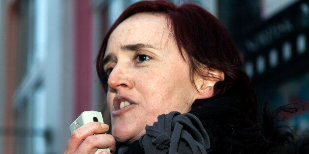 Deputy leader of Pegida UK, Anne Marie Waters , speaks at an anti-Muslim and anti-immigration demonstration...