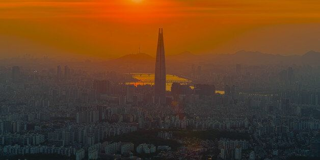 South Korea skyline of Seoul, The best view of South Korea with Lotte world mall at Namhansanseong