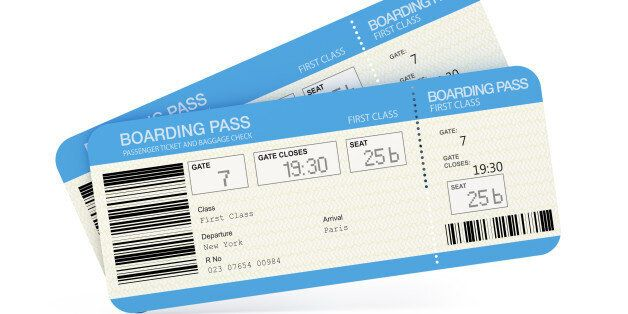 Two airline boarding pass tickets isolated on