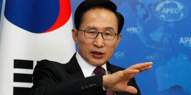 South Korean's President Lee Myung Bak attends the bilateral meeting with Russia's President Vladimir...