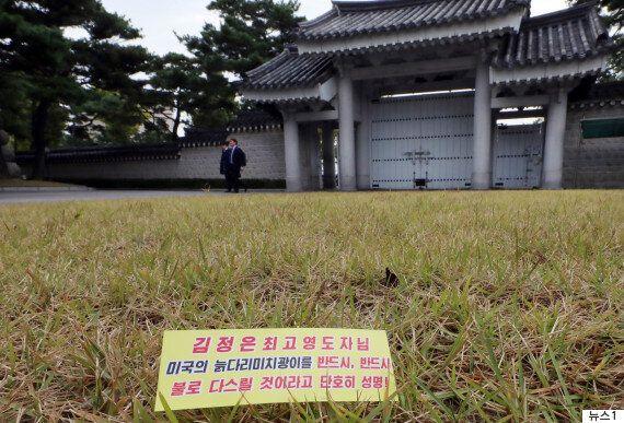 청와대 잔디밭에서 북한 대남전단 '삐라'가 발견됐다