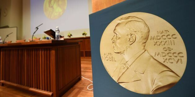 A medal of Alfred Nobel is pictured prior to the beginning of a press conference to announce the winner...