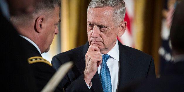 WASHINGTON, DC - JULY 31: Defense Secretary Jim Mattis talks with Chief of Staff of the Army Gen. Mark...