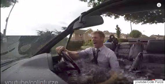 자동차에 뜨거운 물을 넣고 반신욕을 하며 운전을