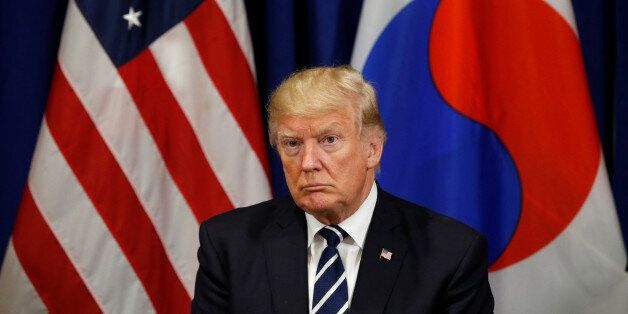 U.S. President Donald Trump looks on during his meeting with South Korean president Moon Jae-in during...