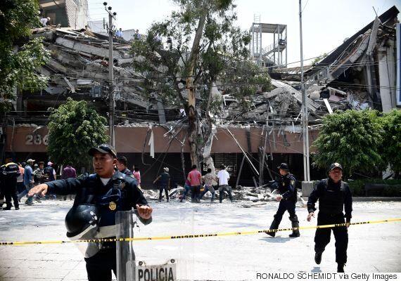 멕시코 시티 강진 피해 상황을 보여주는