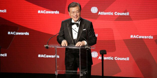 South Korea's President Moon Jae-in receives the Global Citizen Award at an Atlantic Council event in...