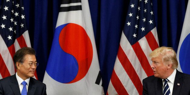 U.S. President Donald Trump meets with South Korean president Moon Jae-in during the U.N. General Assembly...