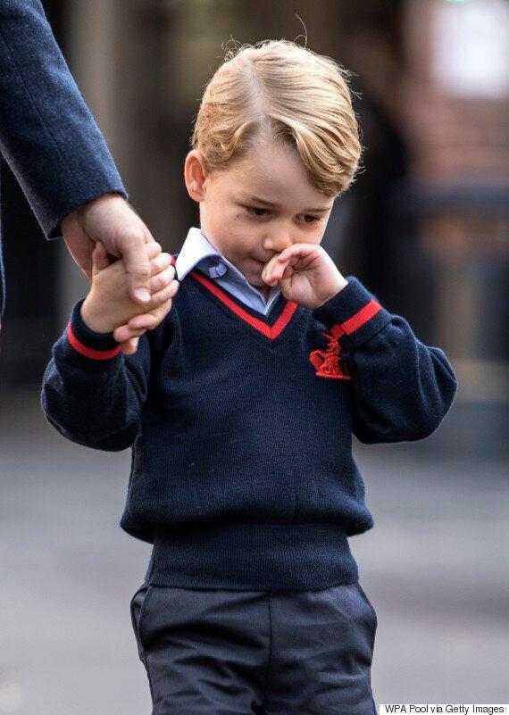 첫 등굣길에 나선 조지 왕자의 얼굴에는 긴장감이