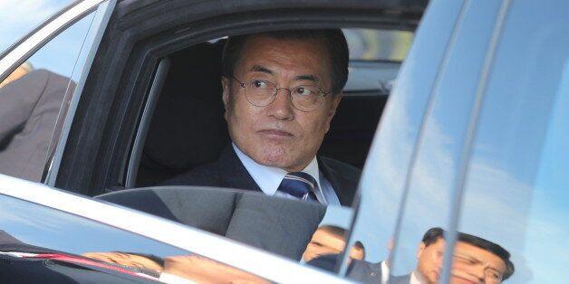 VLADIVOSTOK, RUSSIA - SEPTEMBER 6, 2017: South Korea's President Moon Jae-in in a car ahead of attending...