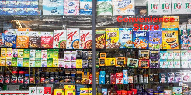 Window display showing the retail products being sold in a Kensington convenience store, on 31st August...