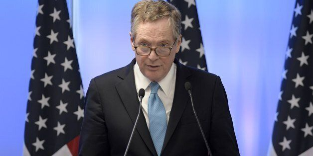 US Trade Representative Robert Lighthizer delivers a speech during a press conference on the third and...