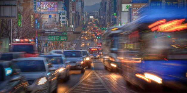 Rush hour at dusk, Seoul, South