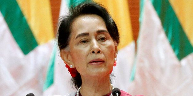 Myanmar State Counselor Aung San Suu Kyi delivers a speech to the nation over Rakhine and Rohingya situation,...