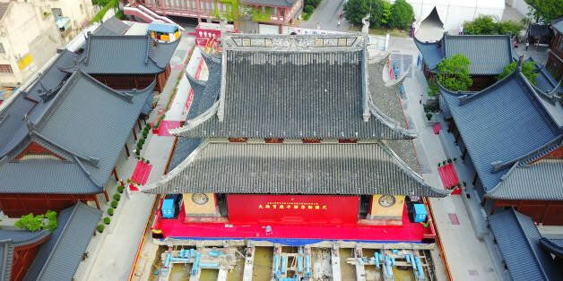 SHANGHAI, CHINA - SEPTEMBER 06: Aerial view of the main hall of Jade Buddha Temple (aka Yufo Temple)...