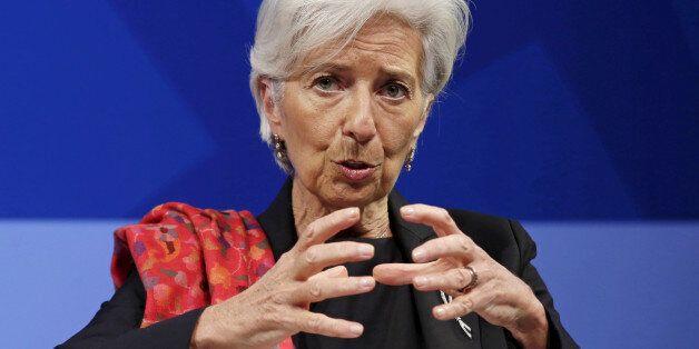 International Monetary Fund (IMF) Managing Director Christine Lagarde speaks at a refugee crisis panel...