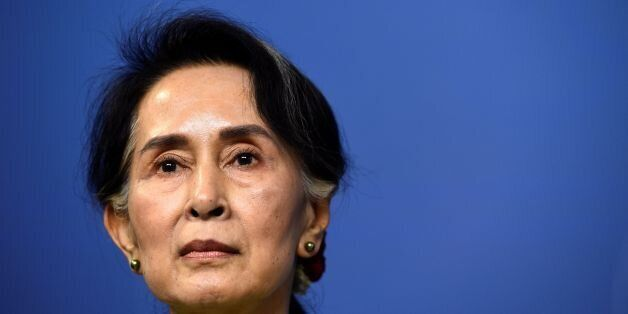 Myanmar's State Counsellor Aung San Suu Kyi speaks during a joint a press conference with Sweden's Prime...