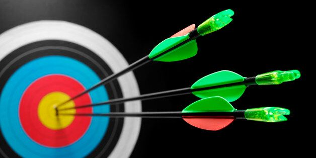 Three arrows in a target, scoring a bulls eye. Differential
