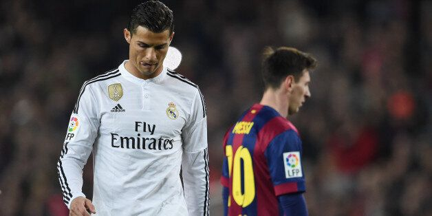 Cristiano Ronaldo of Real Madrid and Lionel Messi of Barcelona during the La Liga match between Barcelona...