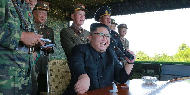 This undated photo released by North Korea's official Korean Central News Agency (KCNA) on August 26,...