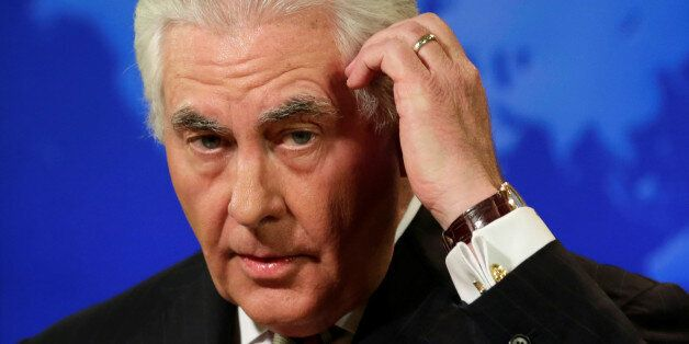 U.S. Secretary of State Rex Tillerson speaks at a press briefing at the State Department in Washington,...