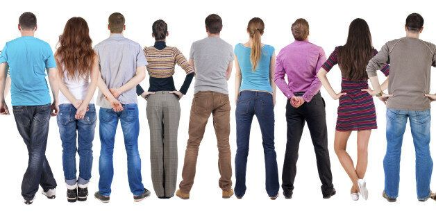 Back view group of people looking. Rear view team people collection. backside view of person. Isolated...