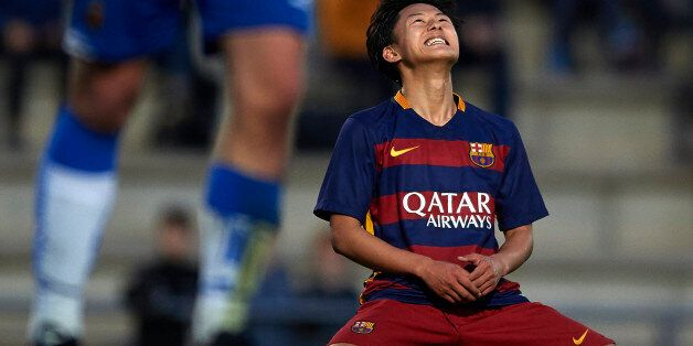 BARCELONA, SPAIN - JANUARY 31: Seung Woo Lee of Barcelona reacts during the match between FC Barcelona...