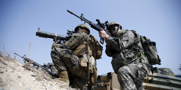 U.S. and South Korean marines participate in a U.S.-South Korea joint landing operation drill in Pohang...
