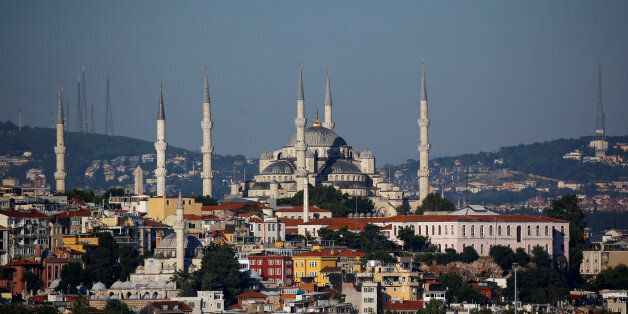 The Ottoman-era Sultanahmet mosque, also known as the Blue Mosque, is pictured in Istanbul, Turkey, July...