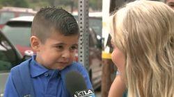첫 등교 날 인터뷰에서 눈물 흘린 아이의
