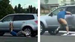 자동차 강도가 차에 매달린 모습은 약간 안
