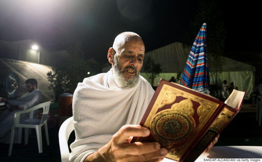이슬람에서 가장 성스러운 곳인 메카 순례가 절정에 달했을 때의