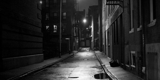 Dark street in the North End section of Boston,