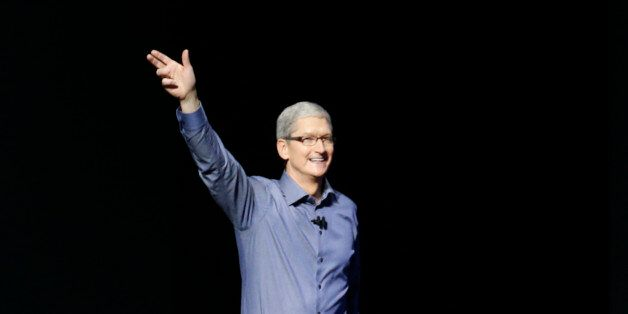 Apple CEO Tim Cook takes the stage during an Apple media event in San Francisco, California, September...