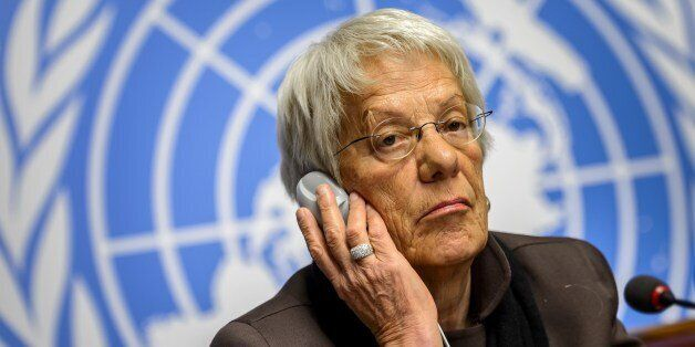 Member of the United Nations (UN) Commission of Inquiry on Syria, Carla del Ponte attends a press conference...
