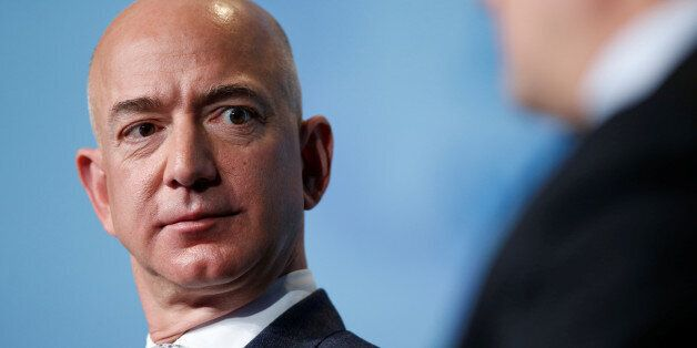 Jeff Bezos, founder of Blue Origin and CEO of Amazon, speaks about the future plans of Blue Origin during...