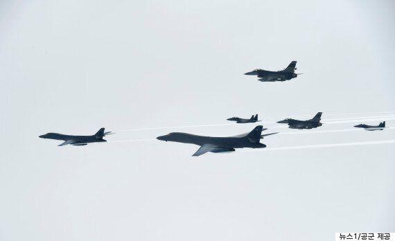 미국 전략폭격기 'B-1B랜서' 편대가 한반도 상공에