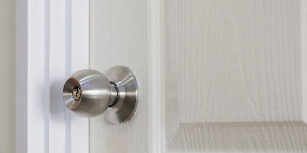 Closeup of spherical of stainless steel door
