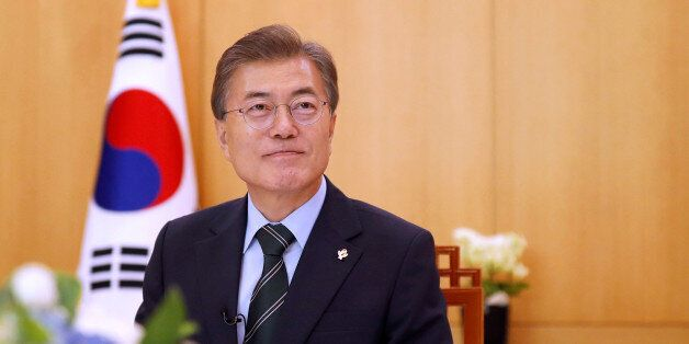 South Korean President Moon Jae-in attends an interview with Reuters at the Presidential Blue House in...