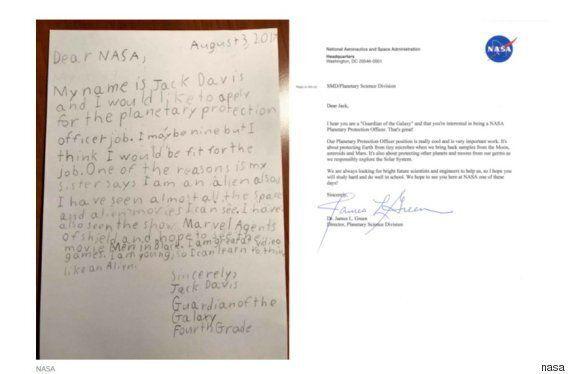 '행성보호관'에 지원한 9살짜리의 원서에 나사가
