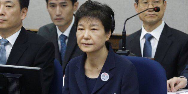 Former South Korean President Park Geun-hye sits for her trial at the Seoul Central District Court in...
