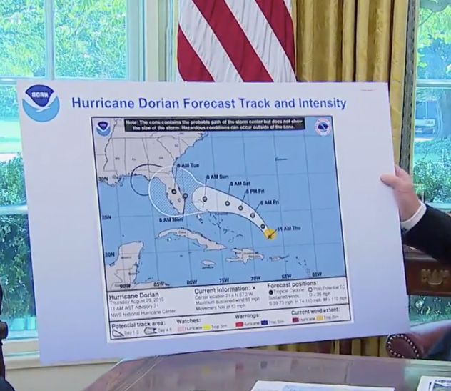 President Donald Trump discusses the path of Hurricane Dorian on Wednesday.