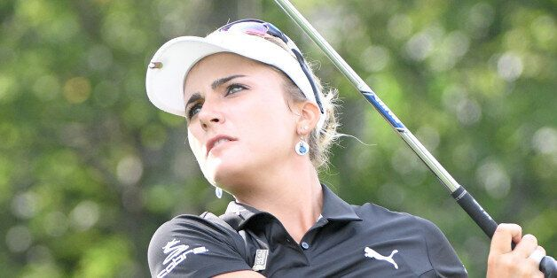 SYLVANIA, OH - JULY 21: Lexi Thompson hits her tee shot on the 14th tee during the second round of the...