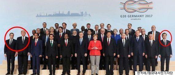 문대통령은 G20 촬영 때 왜 앞줄 제일 끝에