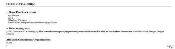 '더 락'을 2020년 대통령 후보로 지목한 캠페인 위원회가