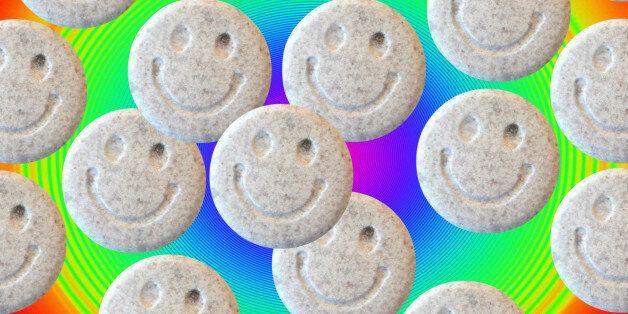 Ecstasy. Tablets of the illegal drug ecstasy (3, 4- methylenedioxymethamphetamine or MDMA). Ecstasy induces...