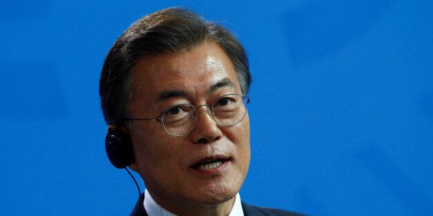 South Korean President Moon Jae-in attends a news conference in Berlin, Germany July 5, 2017. REUTERS/Michele